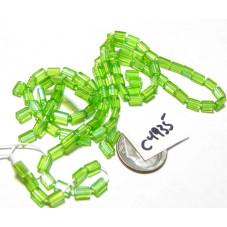 C4935 Czech Glass Baby Pillow Bead LIGHT GREEN AB  3x5mm