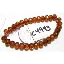 C4943 Czech Glass Faceted Rondelle Beads ALLOY ORANGE w/ GOLDEN LUSTER 3x5mm