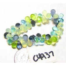 C4937 Czech Glass Teardrop Beads BLUE, GREEN APPLE, WHITE  4x6mm