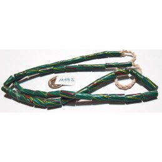 M882 Handmade Indonesia Striped Glass Tube Bead TEAL W/MULTI  12mm