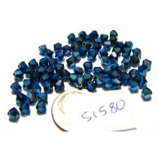S1580  Swarovski Bicone Bead CRYSTAL METALLIC BLUE 2X  4mm