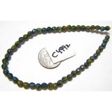 C4992 Czech Glass English Cut Bead COBALT & CYAN w/ PICASSO  4mm