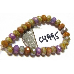 C4995 Czech Glass Faceted Rondelle Beads GRAPE, APRICOT, STONE & SAGE  w/ PICASSO 3x5mm