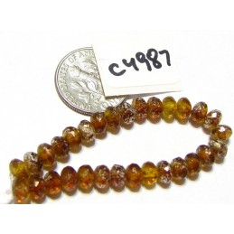C4987 Czech Glass Faceted Rondelle Beads YELLOW GOLD w/ MERCURY   3x5mm