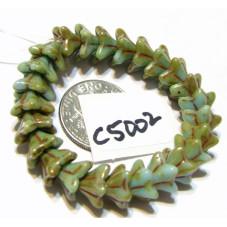 C5002 Czech Glass Bellflower Bead SKY BLUE w/ PICASSO 5x8mm