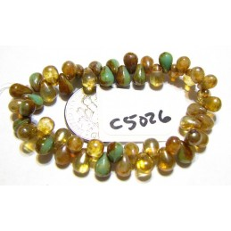 25 pc G6068DR-AGO25 Ladybug and Olive with Picasso Finish Tea Green 25 Czech Teardrop Drop 6x9mm Mix Of Amber