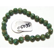 c5035 Czech Glass Melon Bead GREEN w/ PICASSO 6mm