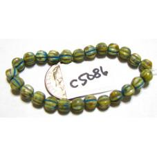 C5086 Czech Glass Melon Bead YELLOW w/ TURQUOISE WASH   5mm