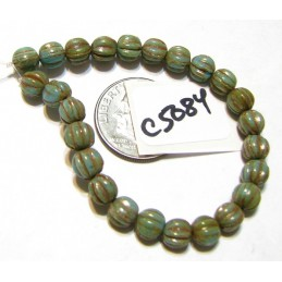 C5084 Czech Glass Melon Bead BLUE TURQUOISE w/ PICASSO & RED WASH  5mm