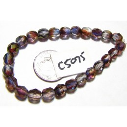 C5075 Czech Glass Faceted Round PURPLE MIX w/ LUSTER FINISH 6mm