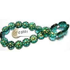 C5101 Czech Glass Coin Flower Bead EMERALD GREEN 12mm