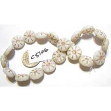C5106 Czech Glass Coin Flower Bead WHITE w/ GOLD 12mm