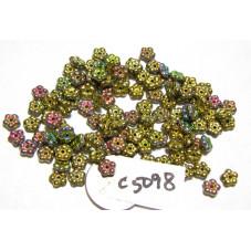 C5098 Czech Glass Forget Me Not Spacer Bead CALIFORNIA MEADOWS  METALLIC 5mm
