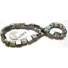 C5117 Czech Glass Square Tile Bead STEEL MATTE w/ MULTI COLOR SPOTS  9mm