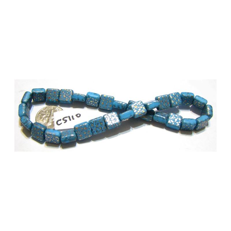 C5110 Czech Glass Square Tile Bead BLUE w/ VITRAIL SPOTS  9mm