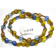 C5109 Czech Glass Flower Bead AMBER - BLUE MIX   9mm
