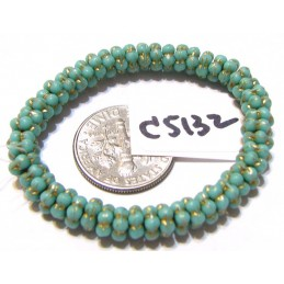 C5132 Czech Glass Forget Me Not Spacer Bead SEA GREEN w/ GOLD WASH  5mm