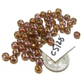 C5128 Czech Glass Faceted Rondelle Beads LUMI BROWN  3x5mm