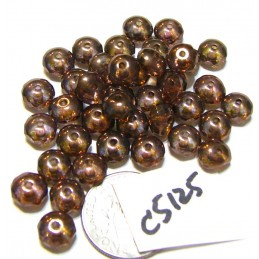 C5125 Czech Glass Faceted Rondelle Beads LUMI BROWN  4x7mm