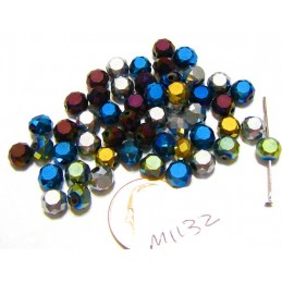 M1132 Glass Faceted Flat Round Bead China COLOR MIX 6x3.5mm