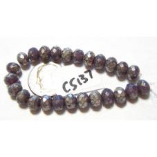 c5137 Czech Glass Faceted Rondelle Beads VIOLET w/ MERCURY  5x7mm