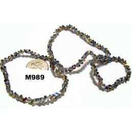 M989 Glass Crystal Faceted Chevron Beads BLACK DIAMOND w/ PURPLE & GOLD LUSTER 2x4mm