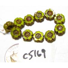 C5169 Czech Glass Hawaiian Flower Bead BRIGHT YELLOW OPALINE w/ PICASSO  7mm