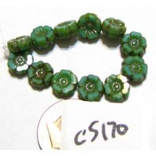 C5170 Czech Glass Hawaiian Flower Bead TURQUOISE w/ PICASSO  7mm
