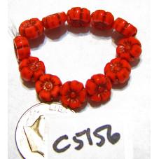 C5156 Czech Glass Hawaiian Flower Bead CORAL w/ DARK BRONZE  7mm