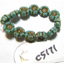C5171 Czech Glass Hawaiian Flower Bead TURQUOISE OPALINE w/ DARK BRONZE  7mm