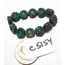 C5154 Czech Glass Hawaiian Flower Bead GREEN TURQUOISE w/ BRONZE   7mm