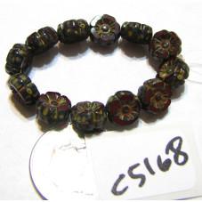 C5158 Czech Glass Hawaiian Flower Bead RED OPALINE w/ PICASSO   7mm