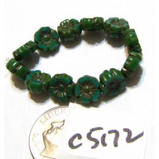 C5172 Czech Glass Hawaiian Flower Bead GREEN TURQUOISE w/ PICASSO   7mm