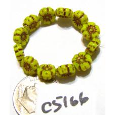 C5166 Czech Glass Hawaiian Flower Bead OPALINE YELLOW w/ DARK BRONZE   7mm