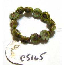 C5165 Czech Glass Hawaiian Flower Bead BLUE / GREEN MIX   7mm