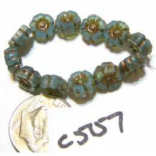 C5157 Czech Glass Hawaiian Flower Bead BLUE w/ PICASSO  7mm