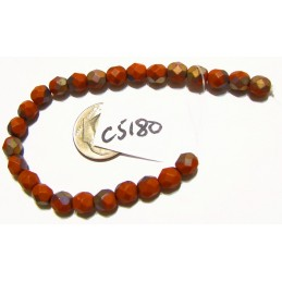 C5180 Czech Glass Faceted Round Bead MATTE APOLLO UMBER  6mm