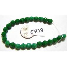 C5178 Czech Glass Faceted Round Bead GRASS GREEN   6mm