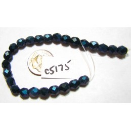 C5175 Czech Glass Faceted Round Bead INDIGO ORCHID   6mm