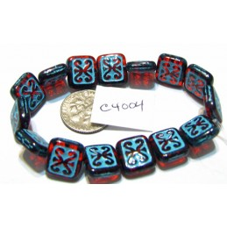 C4004 Czech Ornamental Rectangle Bead RUBY w/ TURQUOISE WASH 11x12mm