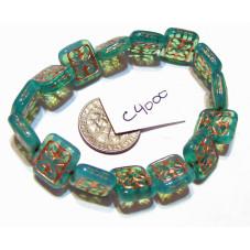 C4000 Czech Ornamental Rectangle Bead GREEN w/ BRASSY WASH 11x12mm