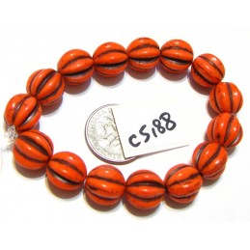 C5188 Czech Glass Melon Bead CORAL w/ BROWN WASH   10mm