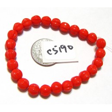 C5190 Czech Glass Melon Bead SCARLET RED   6mm