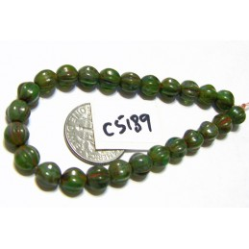 C5189 Czech Glass Melon Bead ARTICHOKE w/ PICASSO  6mm