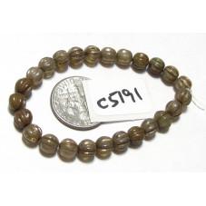 C5191 Czech Glass Melon Bead CHAMPAGNE MIX w/ PICASSO  5mm