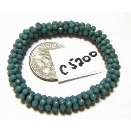 C5200 Czech Glass Forget Me Not Spacer Bead TURQUOISE w/ GOLD  5mm
