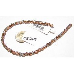 C5207 Czech Faceted Round CRYSTAL & COPPER 4mm