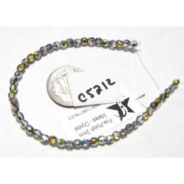 C5212 Czech Glass Faceted Round CRYSTAL MAREA 3mm