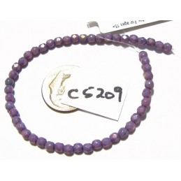 C5209 Czech Glass Faceted Round AMETHYST LUSTER 3mm