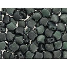 C5234 Czech Glass Matubo 2-hole GINKO Bead METALLIC SUEDE DARK FOREST  7.5mm